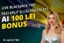 Fortuna ofera 100 ron bonus la balckjack live
