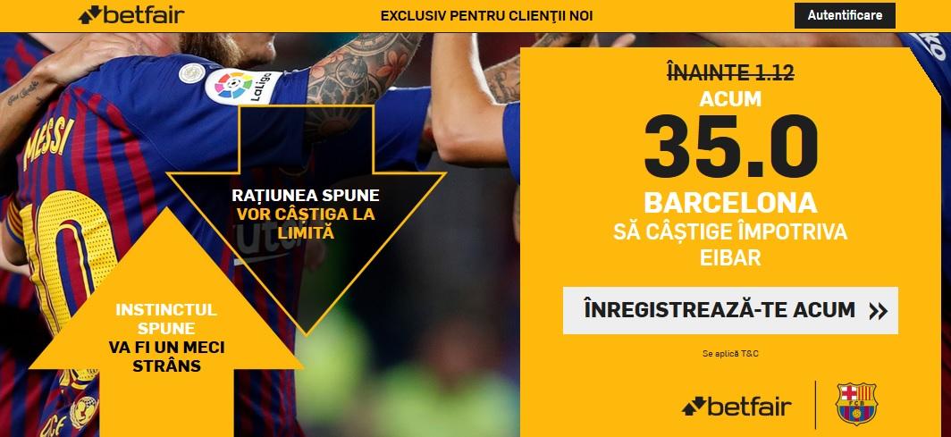 Betfair te invita la pariu pe cota 35 la victoria Barcelonei